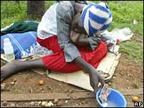 Woman begging in Harare (file photo)