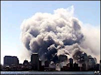 Smoke and dust over Manhattan two days after 11 September 2001 attack