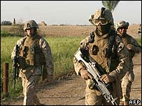 US marines on patrol in Iraq - file photo