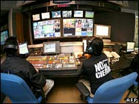 Employees of RCTV in the station's HQ