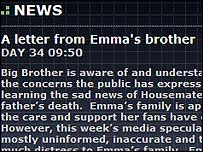 The Letter on Big Brother Australia website