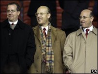 (left to right) Bryan Glazer, Avram Glazer and Joel Glazer