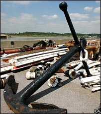 Cutty Sark anchor in storage