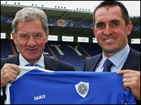Leicester chairman Milan Mandaric and new boss Martin Allen