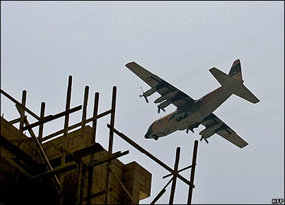 A Jordanian military plane flies over Beirut