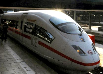 A German ICE 3 high speed train leaves the station in Frankfurt