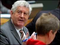 Rhodri Morgan in the Senedd chamber on Friday