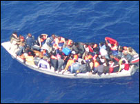 Migrant vessel photographed by Maltese planes 21-05-07 - courtesy of UNHCR