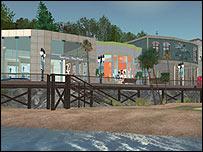 Vista de un centro de compras en Second Life