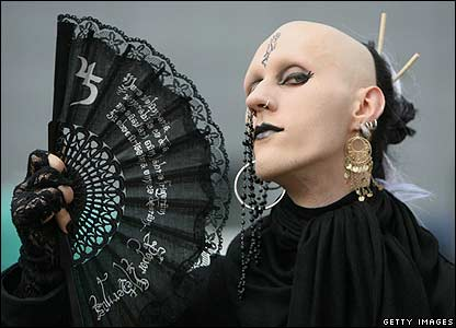 A participant of the annual Wave Gothic Festival in Leipzig, Germany