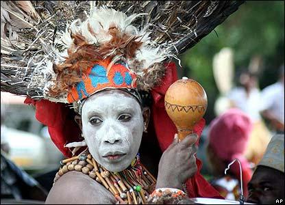 African Performer Wearing
