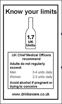 Alcohol label from Drink Aware