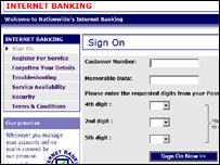 Nationwide bank login page