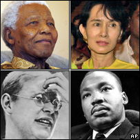 Four of Brown's heroes - Nelson Mandela, Burmese pro-democracy campaigner Aung San Suu Kyi, Martin Luther King and  Nazi critic Dietrich Bonhoeffer