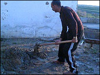 Iliya Georgiev laying concrete