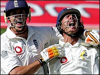 Michael Vaughan's century was met enthusaistically by Pietersen