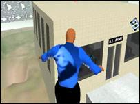 Edmundo en una azotea de Second Life