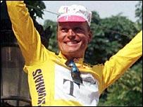 Bjarne Riis celebrates his 1996 Tour de France victory in Paris