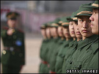 A Chinese military officer trains a line of new recruits (January 2007) 