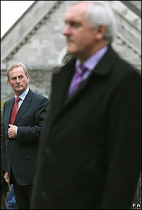 Rival leaders Enda Kenny (left) and Bertie Ahern 