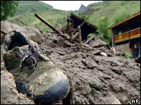 A shoe buried in mud in Ganzi, Sichuan Prefecture