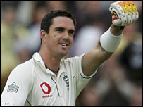 Kevin Pietersen celebrates after reaching 150