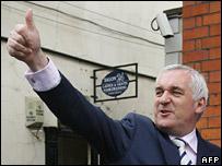 Bertie Ahern celebrates victory