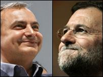 José Luis Rodríguez Zapatero, líder socialista y jefe de Gobierno de España, y Mariano Rajoy, líder del opositor PP