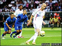 Zinedine Zidane takes a penalty in the 2006 World Cup final