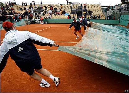 The covers are brought on at a rain-hit French Open