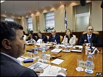 Israeli cabinet meeting, PM Ehud Olmert at far right 27 May 2007