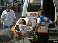 Injured woman after attack on Sderot 27 May 2007