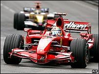 Ferrari's Felipe Massa and Giancarlo Fisichella's Renault