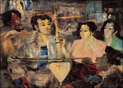 A painting entitled Street Musician by Indonesian artist Hendra Gunawan (1918-1983)