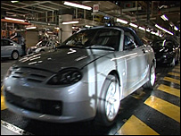Rover cars being made at the old Longbridge production line