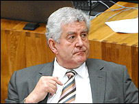 Rhodri Morgan being reappointed first minister in the Senedd