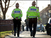 Police officers patrolling the streets