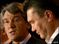 Viktor Yushchenko and Viktor Yanukovych on Sunday 27 May 2006
