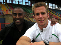 Colin Jackson and Tim Benjamin in Cardiff