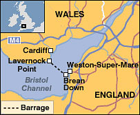 Map showing proposed route of Severn Barrage