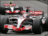 Fernando Alonso and Lewis Hamilton during the Monaco Grand Prix
