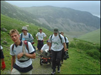 Rhys and his team on Helvellyn last year