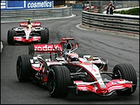 Fernando Alonso leads McLaren team-mate Lewis Hamilton during the Monaco Grand Prix