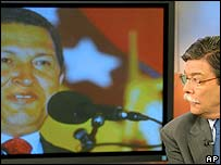Image of Hugo Chavez (l) and RCTV chief Marcel Granier