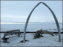 Whale jaw monument. Image: BBC