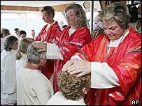 Ordination ceremony on a boat on the St Lawrence river in 2005