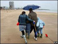 A family on Margate beach in Kent