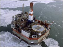 A platform in the Sakhalin oil and gas field