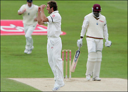 Liam Plunkett celebrates the removal of Chris Gayle