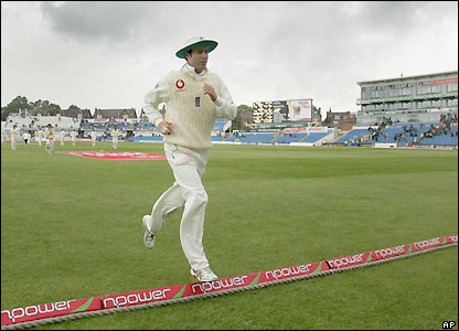 Michael Vaughan leaves the pitch